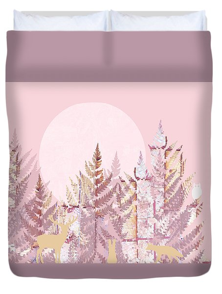 Woodland Scenic In Pink Dedicated To Hrh Princess Charlotte Duvet Cover by Suzanne Powers