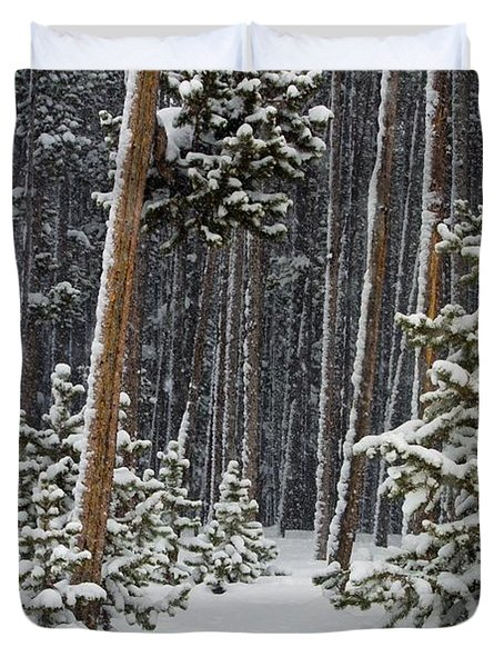 Woodland Snowstorm In Yellowstone Duvet Cover