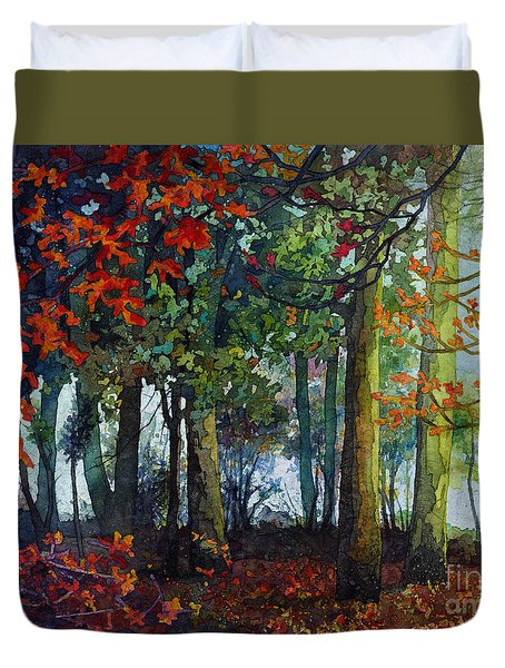 Duvet Cover featuring the painting Woodland Trail by Hailey E Herrera