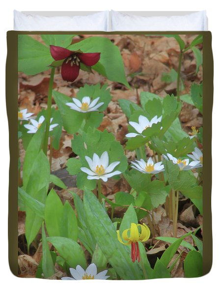 Woodland Wildflowers Duvet Cover by John Burk
