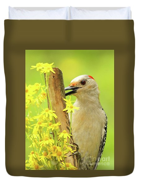 Woodpecker Among Yellow Flowers Duvet Cover