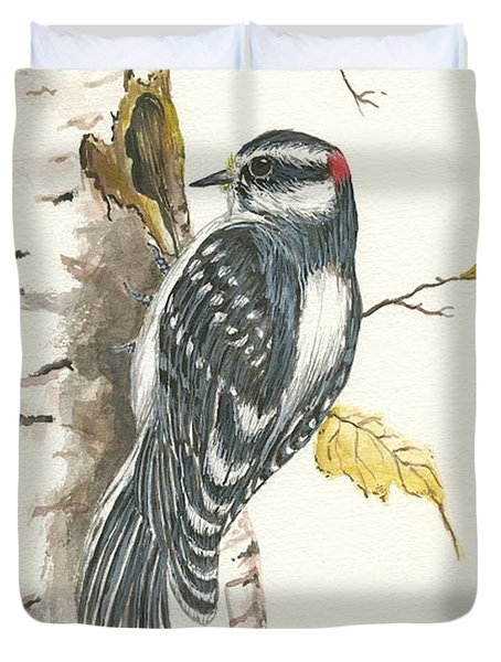 Duvet Cover featuring the painting Woodpecker by Darren Cannell