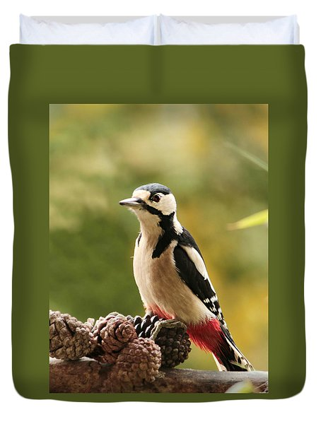 Woodpecker In Winter Duvet Cover by Heike Hultsch