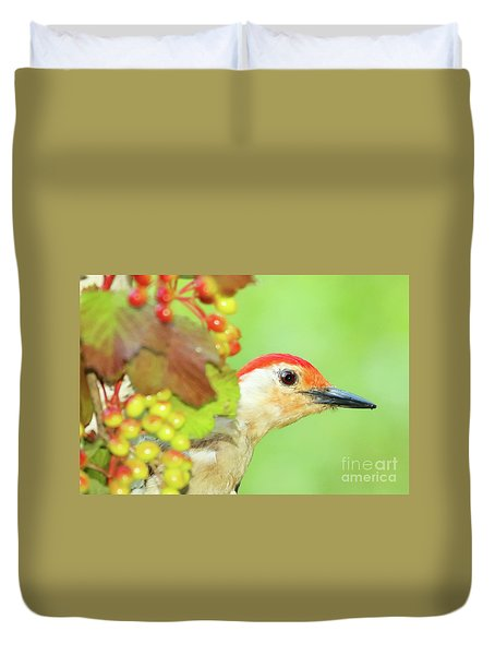 Woodpecker Peeking Out Duvet Cover