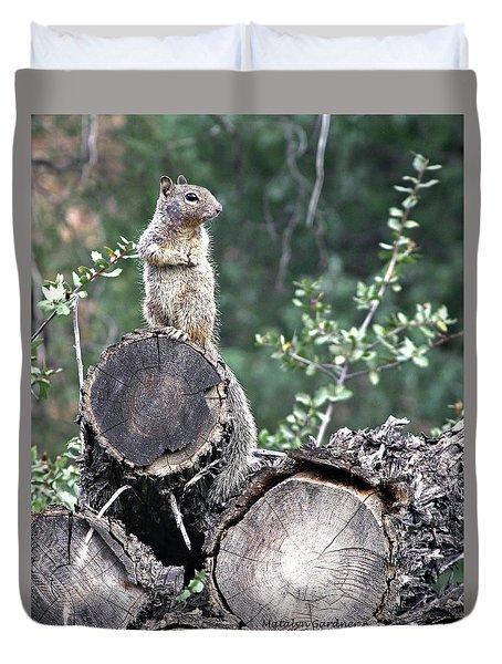 Woodpile Squirrel Duvet Cover
