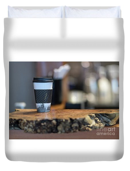 Duvet Cover featuring the photograph Woods Coffee by Jim  Hatch