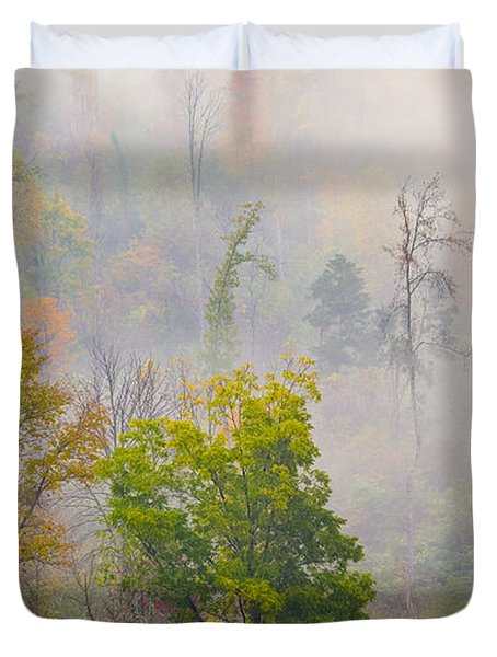 Duvet Cover featuring the photograph Woods From Afar by Wanda Krack