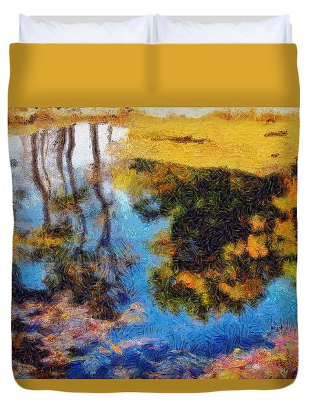 Woods In The Pond Duvet Cover