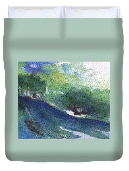Duvet Cover featuring the painting Woods Road by Frank Bright