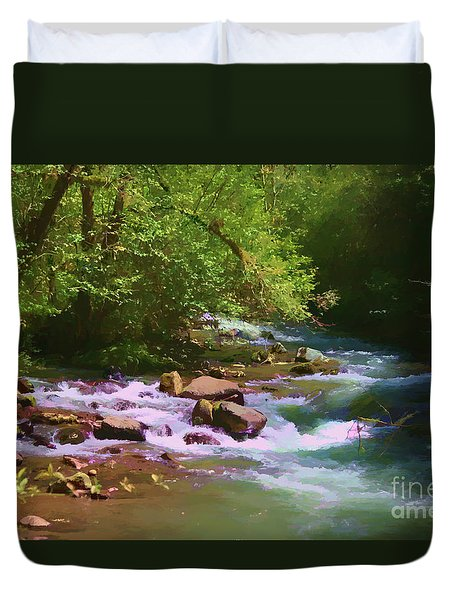 Woodsy River Duvet Cover by Erica Hanel