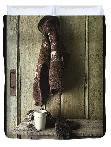 Wool Sweater With Coffee Mug On Gray Bench Duvet Cover