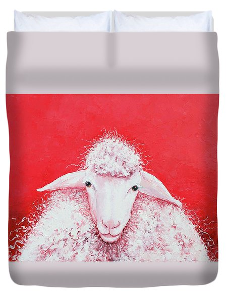 Woolly Sheep Painting, Gabriel Duvet Cover