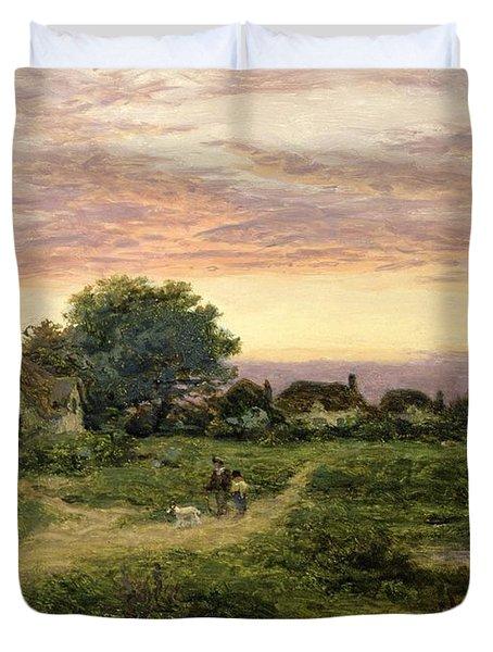 Worcestershire Cottages Duvet Cover by Benjamin William Leader