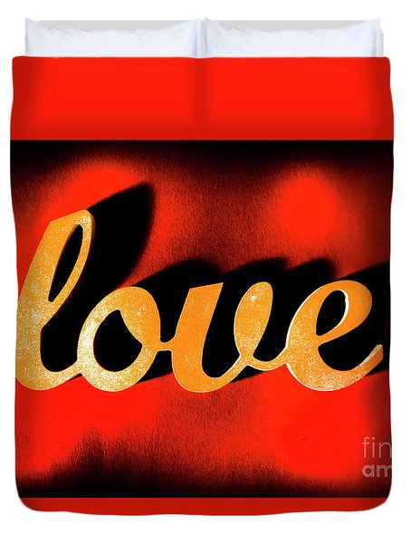Words Of Love And Retro Romance Duvet Cover