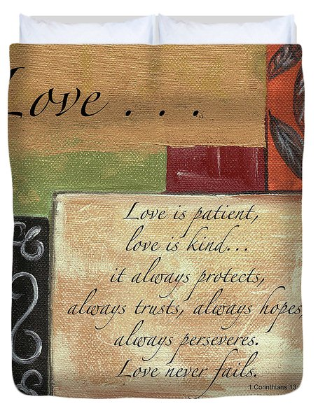 Words To Live By Love Duvet Cover