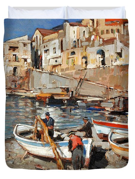 Work Never Ends For Amalfi Fishermen Duvet Cover
