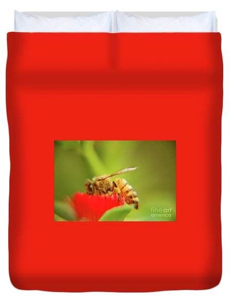 Duvet Cover featuring the photograph Worker Bee by Micah May