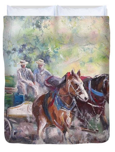 Working Clydesdale Pair, Victoria Breweries. Duvet Cover