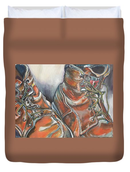 Working Man's Boots Duvet Cover by Stephanie Come-Ryker