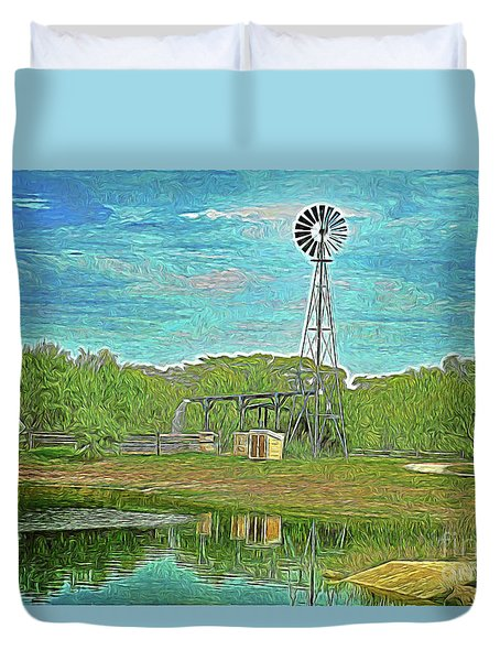 Duvet Cover featuring the photograph Working Windmill  by Ray Shrewsberry