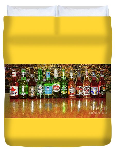 Duvet Cover featuring the photograph World Beers By Kaye Menner by Kaye Menner