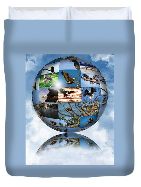 Duvet Cover featuring the photograph World Full Of Eagles by Eleanor Abramson