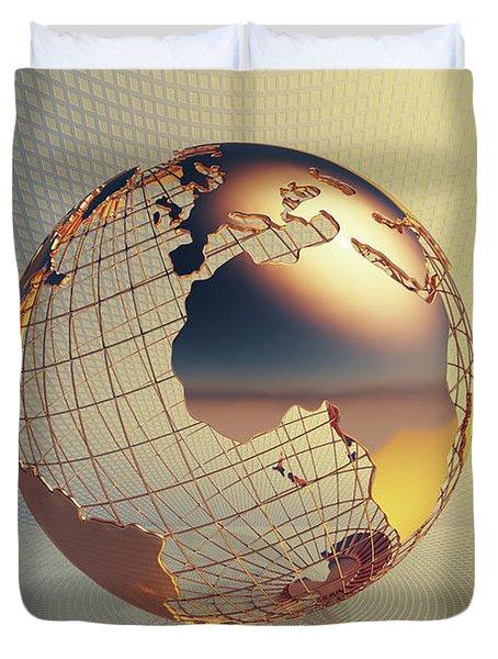 World Global Business Background Duvet Cover