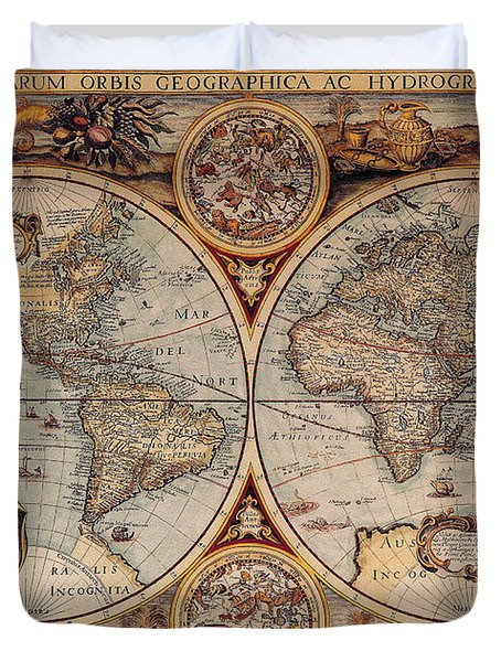World Map 1636 Duvet Cover by Photo Researchers