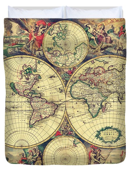 World Map 1689 Duvet Cover