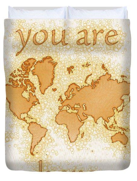 World Map Airy You Are Here In Brown And White  Duvet Cover by Eleven Corners