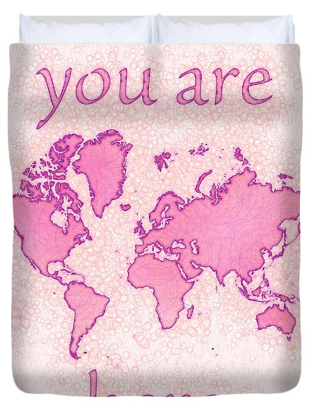 World Map Airy You Are Here In Pink And White Duvet Cover by Eleven Corners