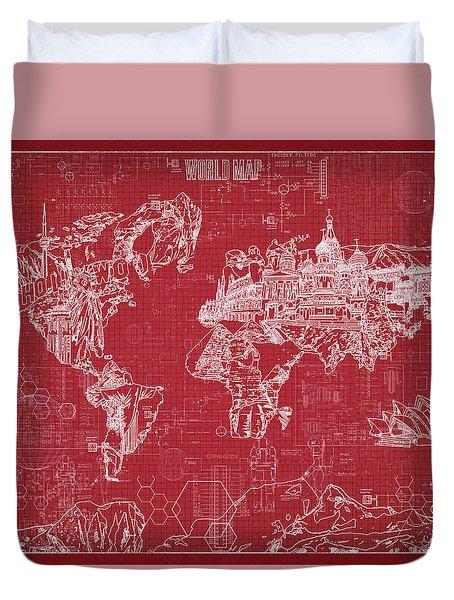World Map Blueprint 3 Duvet Cover by Bekim Art