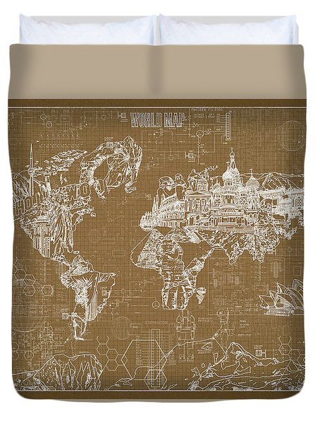 World Map Blueprint 4 Duvet Cover by Bekim Art