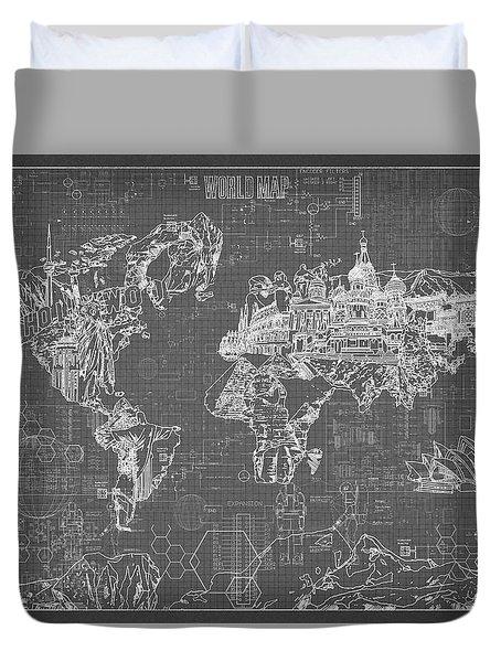World Map Blueprint 5 Duvet Cover by Bekim Art