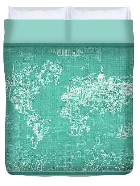 World Map Blueprint 7 Duvet Cover by Bekim Art