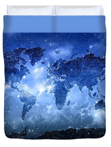 World Map Galaxy 9 Duvet Cover by Bekim Art