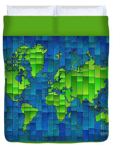 World Map Glasa Blue And Green Duvet Cover