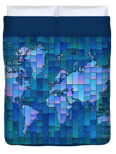 World Map Glasa Blue Duvet Cover