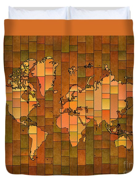 World Map Glasa Brown Orange Green Duvet Cover