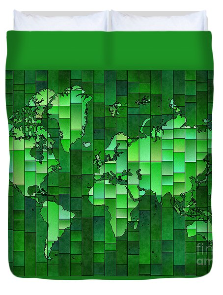 World Map Glasa Green Duvet Cover