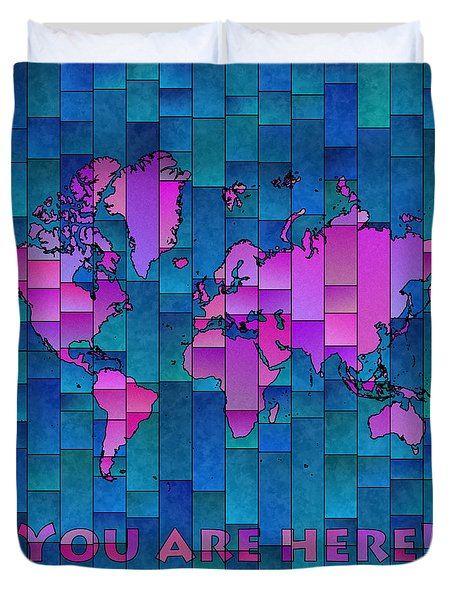World Map Glasa Purple And Blue Duvet Cover