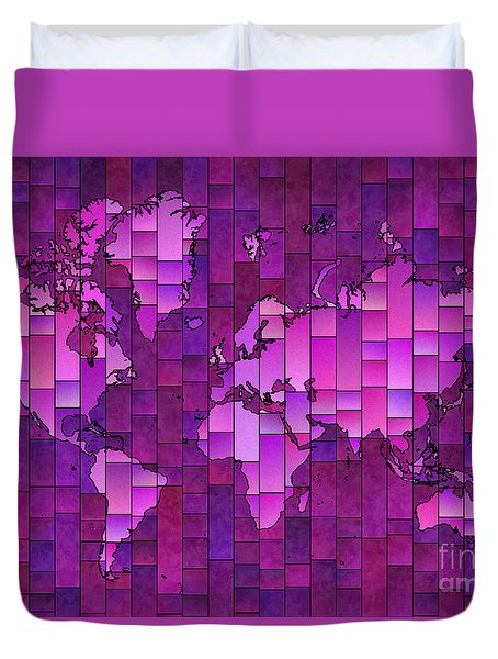 World Map Glasa Purple Duvet Cover