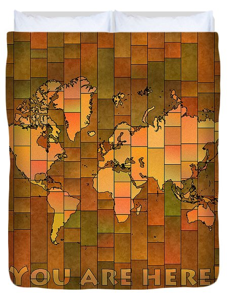 World Map Glasa You Are Here Brown Orange Green Duvet Cover