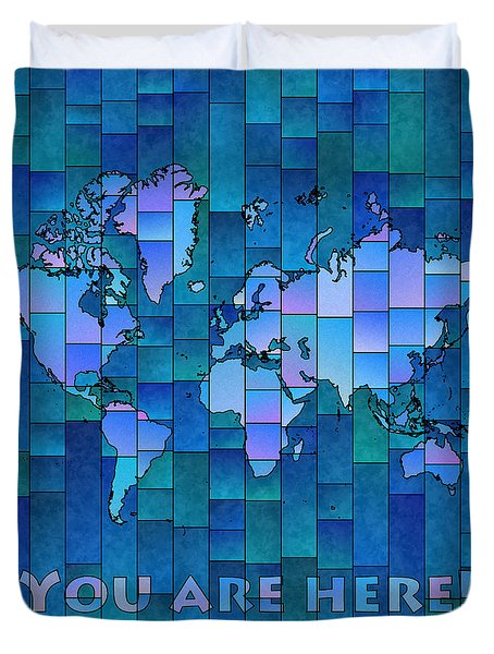 World Map Glasa You Are Here In Blue Duvet Cover
