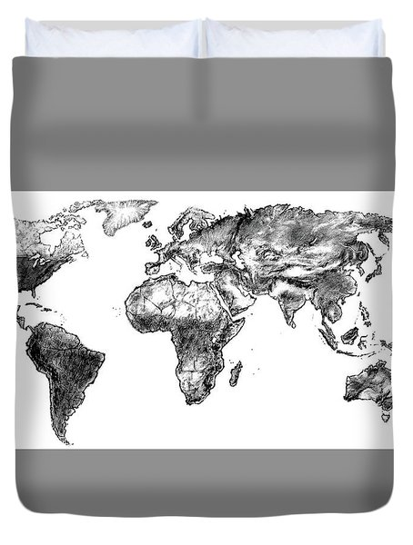 Duvet Cover featuring the drawing World Map In Graphite by Heidi Kriel