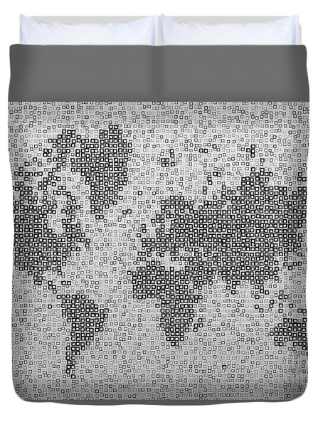 World Map Kotak In Black And White Duvet Cover by Eleven Corners