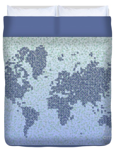 World Map Kotak In Blue Duvet Cover