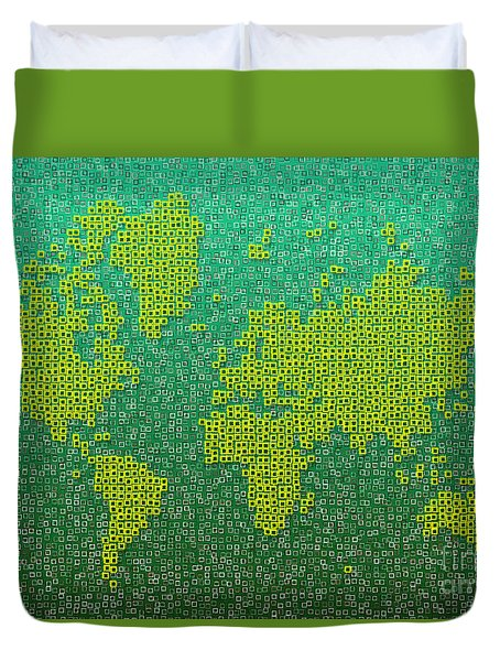 World Map Kotak In Green And Yellow Duvet Cover