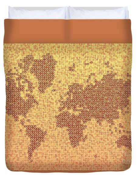 World Map Kotak In Yellow And Red Duvet Cover by Eleven Corners