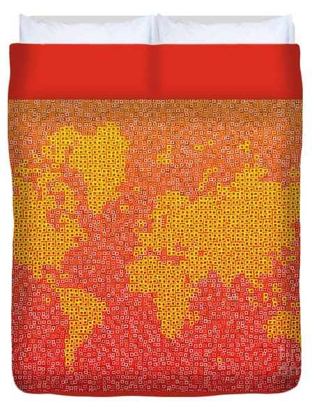 World Map Kotak In Yellow Orange And Red Duvet Cover by Eleven Corners